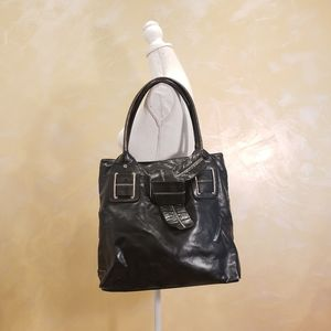 Tommy Hilfiger Large Black Faux Leather Tote